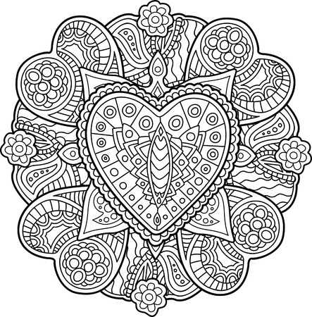 Beautiful pattern with heart for coloring book page