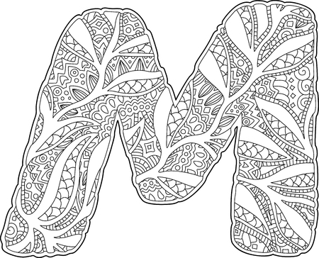 Beautiful coloring book page with stylized letter M on white background