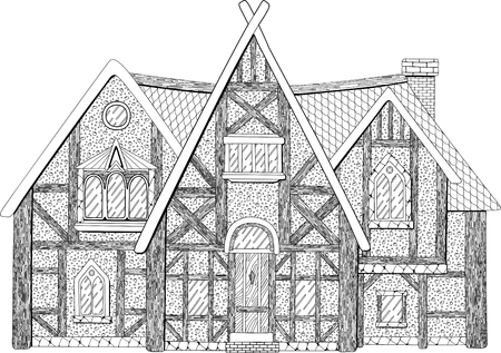 Beautiful coloring book page with detailed medieval building on white background Reklamní fotografie