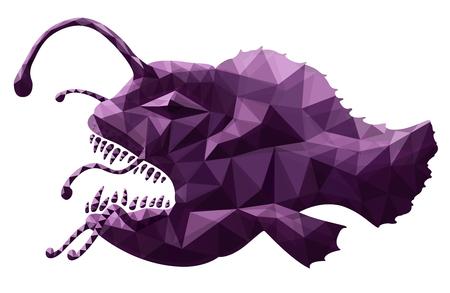 Beautiful art with stylized ugly anglerfish on white background