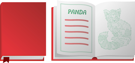 Beautiful book with red panda on white background Stock Photo