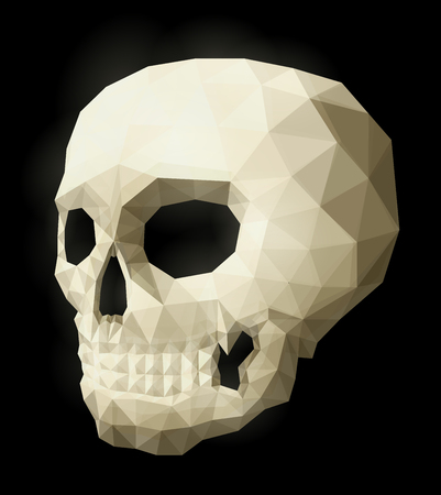 Low poly illustration with isolated white skull on black background