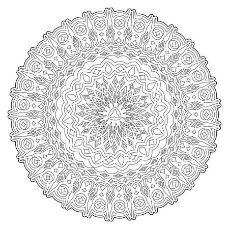 Beautiful coloring book illustration with abstract round monochrome pattern