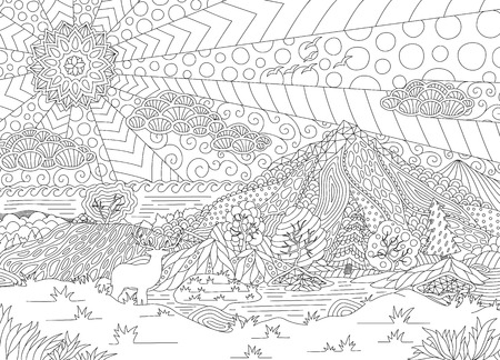 Monochrome illustration with beautiful landscape for adult coloring book pages Banque d'images