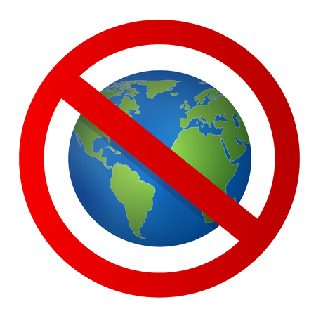 Beautiful vector icon with crossed out planet earth on white background Stock Photo