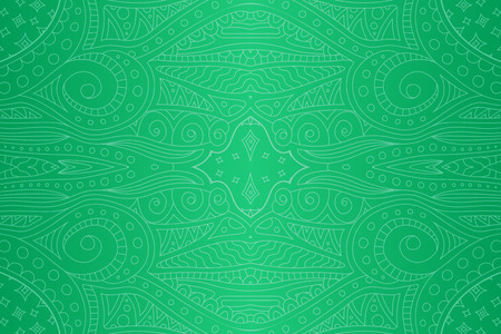 Beautiful abstract seamless green linear pattern with stars