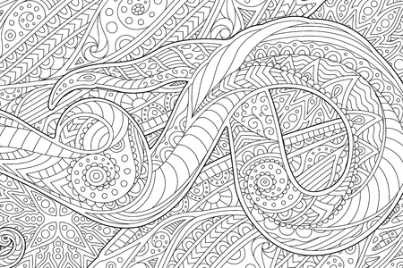 Beautiful coloring book page with monochrome waving abstract pattern