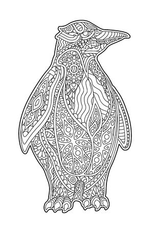 Beautiful coloring book page with decorative pinguin on white background Stock Illustratie