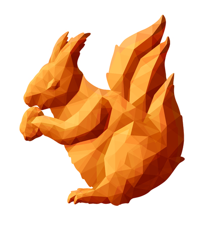 Beautiful low poly illustration with red squirrel on white background Illustration