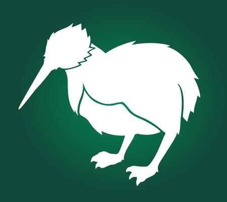 Beautiful illustration with kiwi white silhouette on green background Stock Illustratie