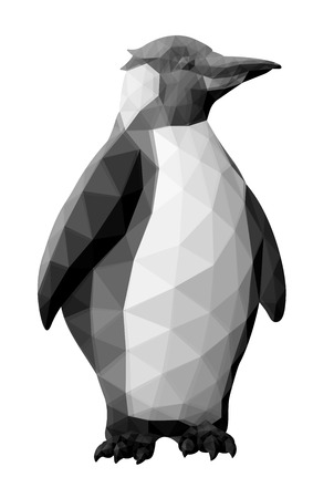 Beautiful low poly illustration with cartoon penguin on white background Illustration