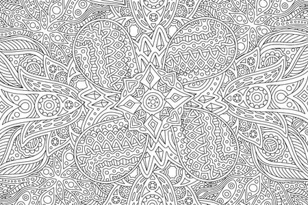 Hermosa página detallada del libro para colorear para adultos con patrón monocromo lineal abstracto Ilustración de vector