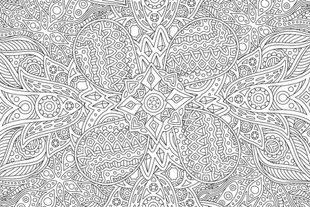 Beautiful detailed adult coloring book page with abstract linear monochrome pattern Illustration