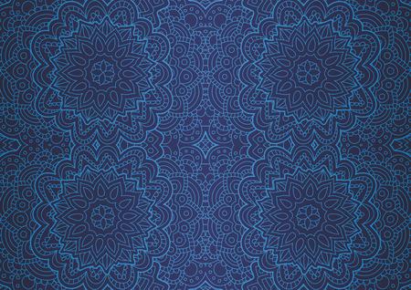 Bella arte blu con motivo lineare blu senza cuciture astratto Vettoriali