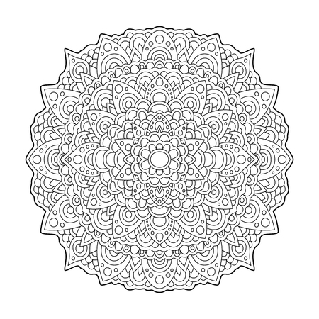 Coloring book page with abstract round pattern