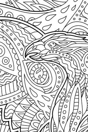 Coloring book page with decorative predatory bird