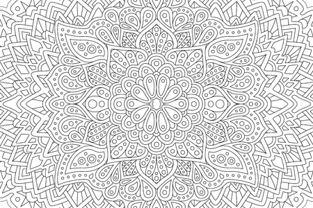 Adult coloring book page with eastern pattern