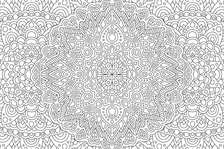 Beautiful adult coloring book page with monochrome eastern linear pattern Illusztráció
