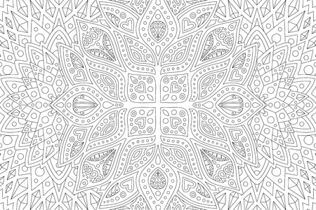 Beautiful coloring book page with abstract monochrome linear pattern