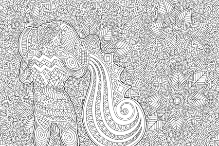 Coloring book page with aquarius on beautiful monochrome floral pattern Illustration