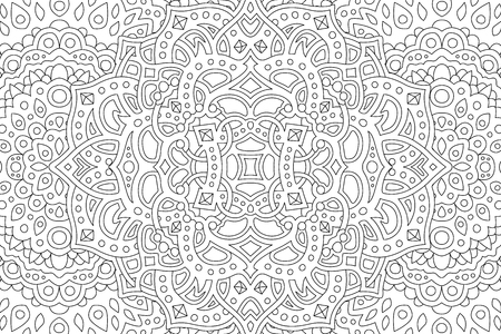 Coloring book page with beautiful abstract monochrome pattern
