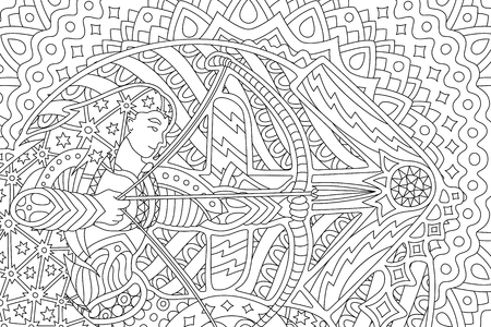 Beautiful coloring book page with archer and saggitarius sign