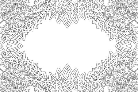Beautiful coloring book page with monochrome detailed border and copy space