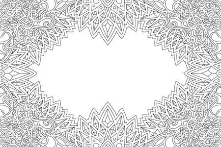 Belle page de livre de coloriage avec bordure détaillée monochrome et espace de copie