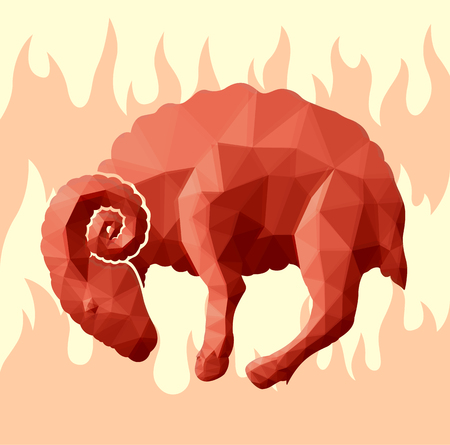 Beautiful red low poly illustration with ram in fire Çizim