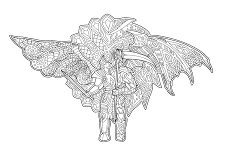 Beautiful illustration for coloring book with decorative cartoon fallen angel on white background