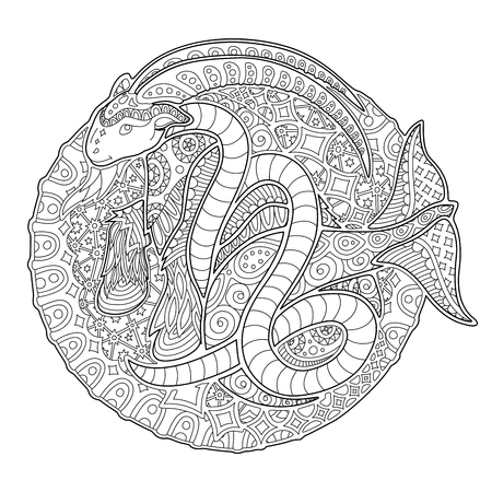 Beautiful coloring book page with monochrome decorative capricorn on white background