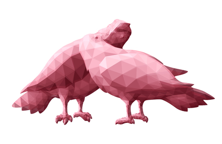 Beautiful low poly illustration with pink pigeons on white background