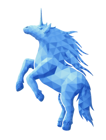 Beautiful low poly illustration with blue unicorn silhouette on white background