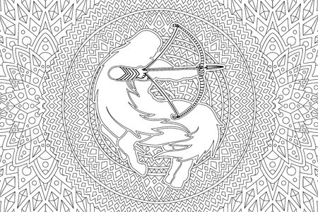 Beautiful coloring book page with zodiac symbol sagittarius white silhouette on the detailed linear pattern