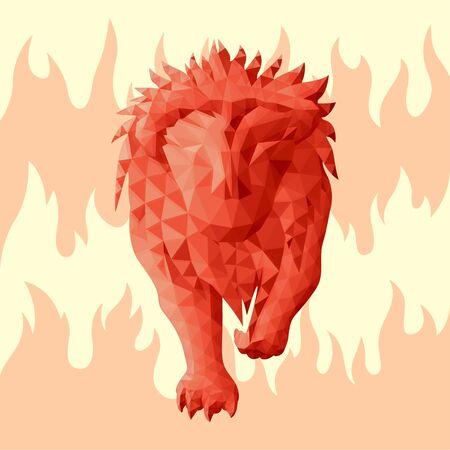 Hermosa ilustración de baja poli con el signo zodiacal leo rojo sobre fondo de fuego rosa Ilustración de vector