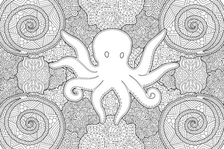 Beautiful illustration for coloring book with octopus silhouette on abstract linear monochrome pattern Vektoros illusztráció