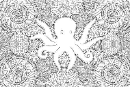 Belle illustration pour cahier de coloriage avec silhouette de poulpe sur motif monochrome linéaire abstrait Vecteurs