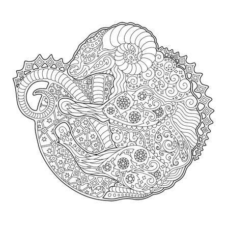 Hermosa ilustración en blanco y negro para colorear libro con símbolo del zodíaco aries sobre fondo blanco. Ilustración de vector