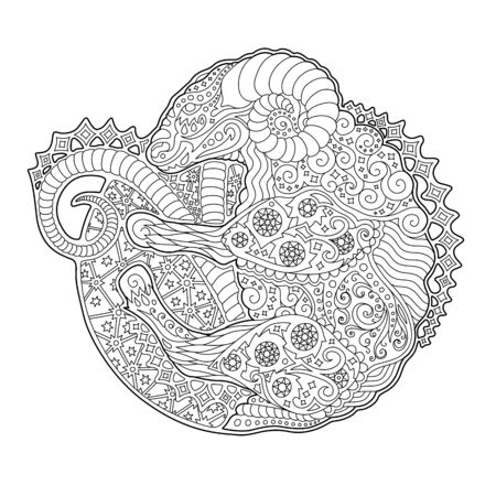 Beautiful black and white illustration for coloring book with zodiac symbol aries on white background Illustration
