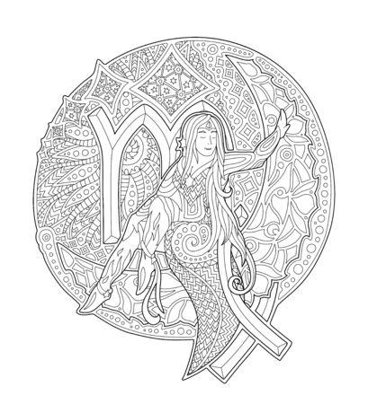 Página de libro para colorear romántico con hermosa mujer en la luna y el signo del zodíaco virgo sobre fondo blanco