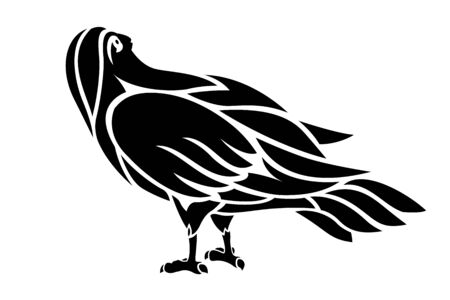 Beautiful illustration for tattoo with black bird silhouette on white background