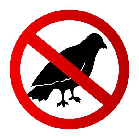 Icon with restricted black bird silhouette on white background Illustration