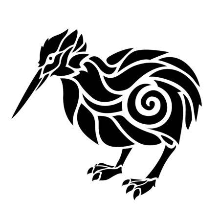 Beautiful black and white tattoo illustration with isolated stylized bird kiwi