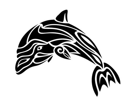 Beautiful tattoo illustration with stylized black and white dolphin silhouette on the white background Illustration