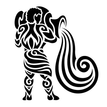 Ilustración de hermoso tatuaje con acuario fuerte sobre fondo blanco Ilustración de vector