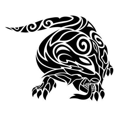 Beautiful black and white tattoo illustration with stylized terrible lizard on white background Vektorgrafik