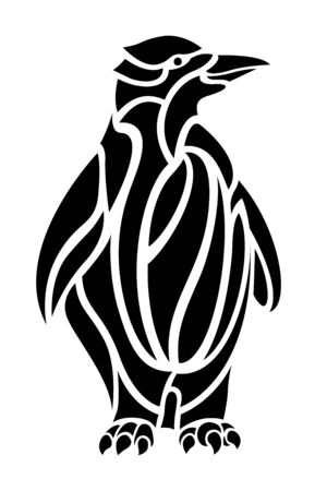 Beautiful black and white tattoo illustration with cartoon penguin silhouette on white background