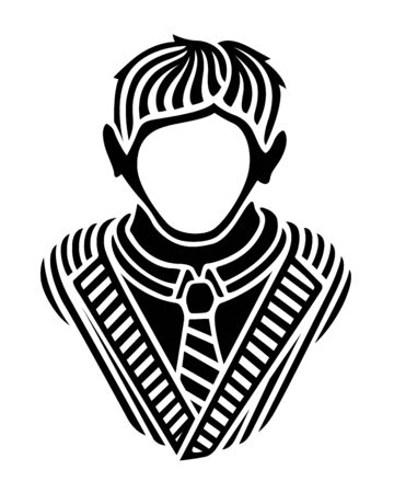 Beautiful illustration with black stylized man silhouette without face dressed striped jacket and tie on white background