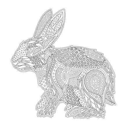 Beautiful linear monochrome illustration for coloring book with stylized rabbit on white background