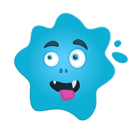 Funny cartoon illustration with blue creepy monster blot on white background Vettoriali